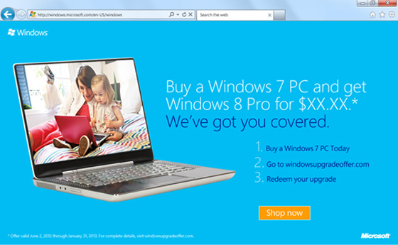Microsoft offering $15 upgrade to Windows 8 Pro