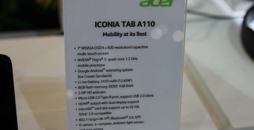 Acer Iconia Tab A110 hands-on
