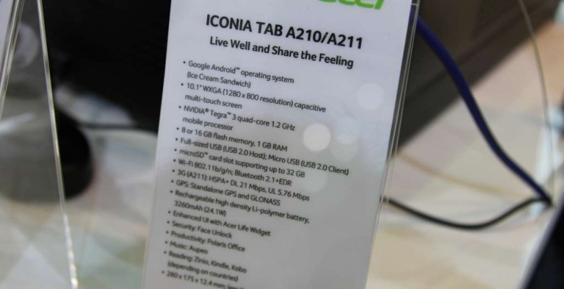 Acer Iconia Tab A210 hands-on