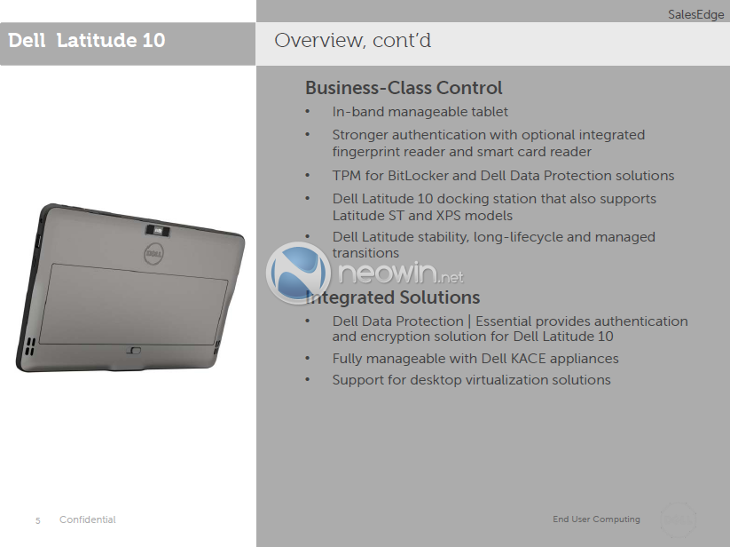 Dell Latitude 10 and Win RT slate detailed plus wireless