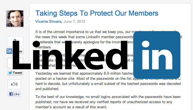 """LinkedIn hack update includes """"no unauthorized access"""""""