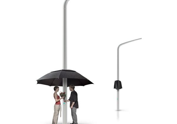 Lamp post + Umbrella = The Lampbrella