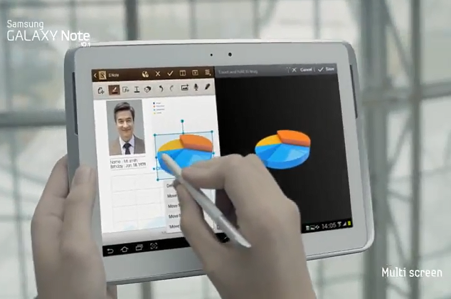 Samsung Galaxy Note 10.1 advert stokes stylus suspense