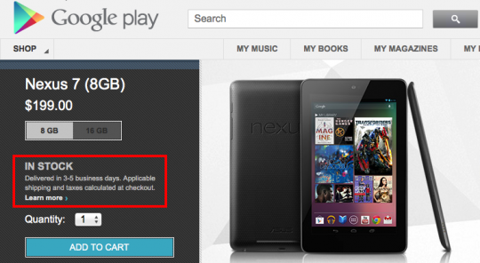 Nexus 7 now listed as 'in stock' at Google Play Store
