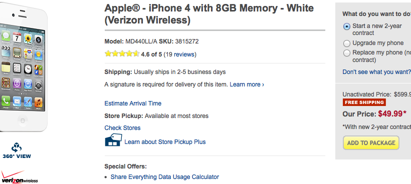 Best Buy lowers iPhone 4 price to $50 on contract