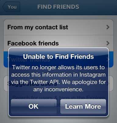 Twitter blocks key API access for Instagram