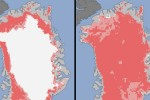 Satellite shots show intense Greeland ice sheet melt
