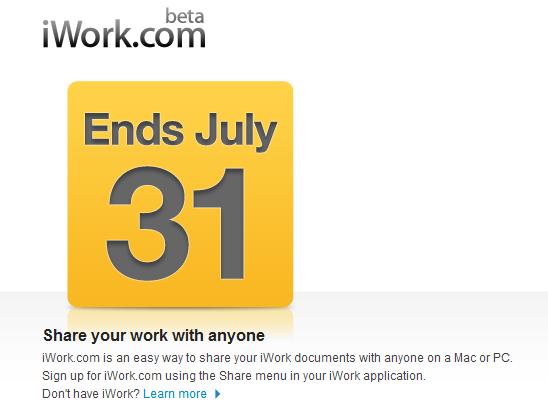 iWork.com to shut down July 31 following MobileMe
