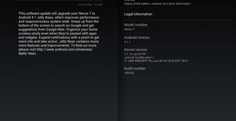 Google Nexus 7, Galaxy Nexus updated already to Android 4.1.1