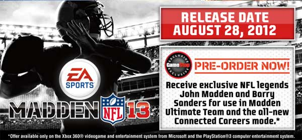GameStop announces Madden NFL 13 pre-order bonuses and exclusives