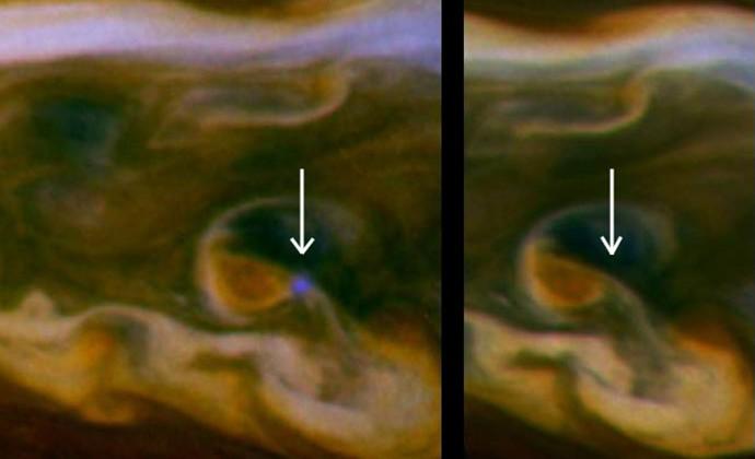 NASA's Cassini captures daytime lightning on Saturn