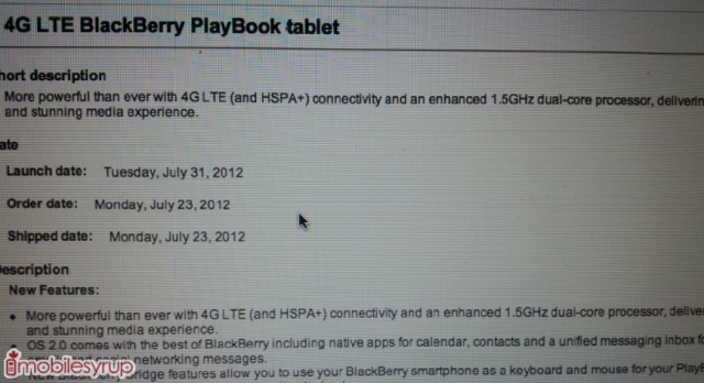LTE BlackBerry PlayBook due on July 31st for $550