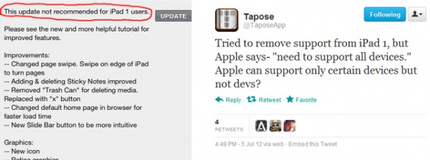 Tapose app forced to include iPad 1 compatibility