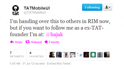 TAT founder abandons RIM well before BlackBerry 10 unleashed [UPDATE: RIM comments]