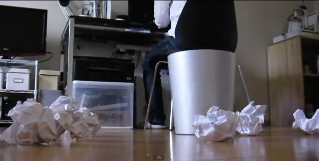 Kinect-controlled trashcan catches trash tossed in the air