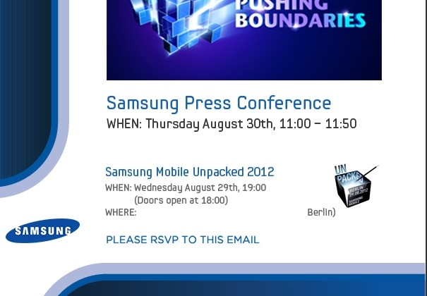 Samsung Mobile Unpacked invites unleashed for IFA 2012
