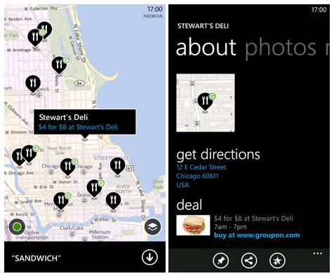 Nokia Maps updated with support for Groupon Now! deals