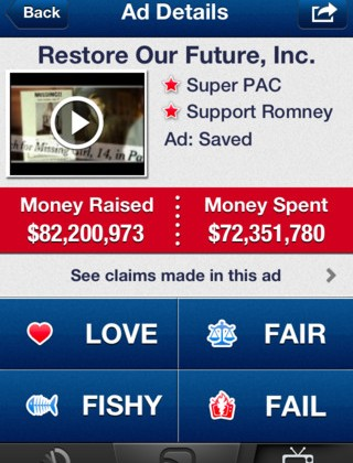 'Super PAC App' for iPhone dishes details on political ads