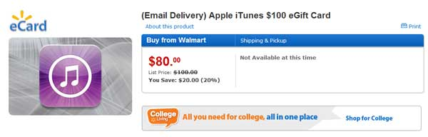Walmart selling $100 iTunes gift cards for $80