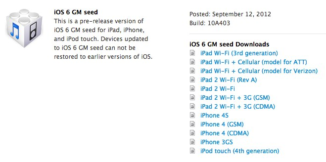 iOS 6 GM seed lands shortly after iPhone 5 announcement