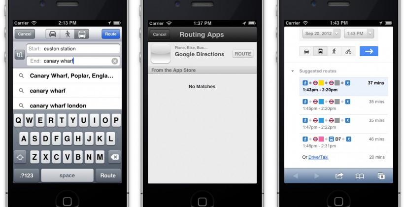 Apple Maps hack adds Google public transport directions option