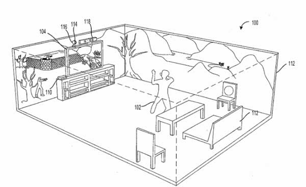 Microsoft patent surfaces showing immersive Holodeck-style display