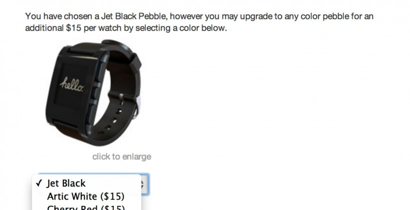 Pebble smartwatch adds color option as backers asked for ship details