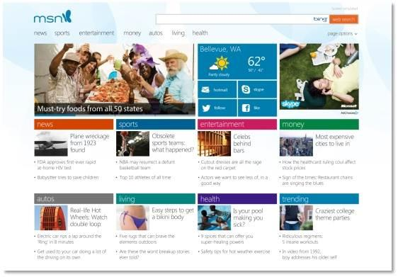 MSN portal takes giant Windows 8 touchscreen cue