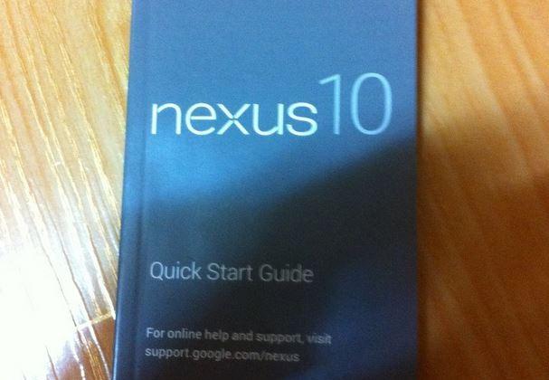 Samsung Nexus 10 quick start manual spotted