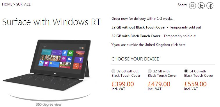 """32GB Surface models """"temporarily sold out"""" on Microsoft's UK store"""
