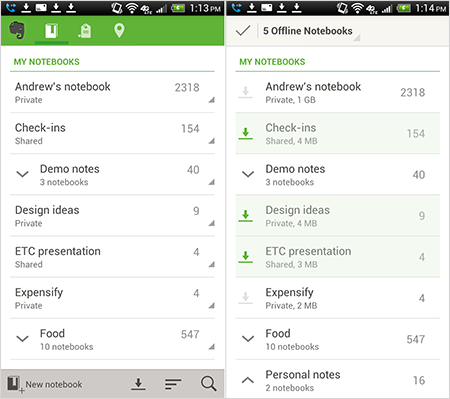 Evernote for Android updates with simplified editing, improved offline notebooks