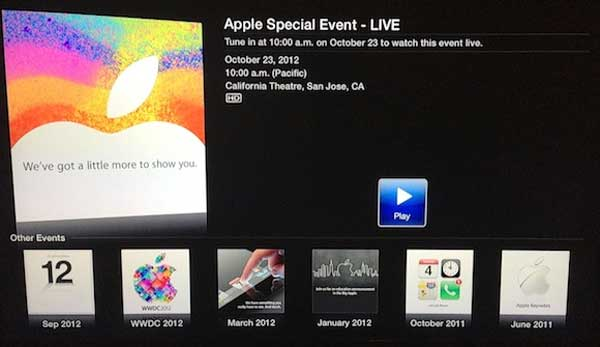 Apple TV users can view live video from iPad mini event today