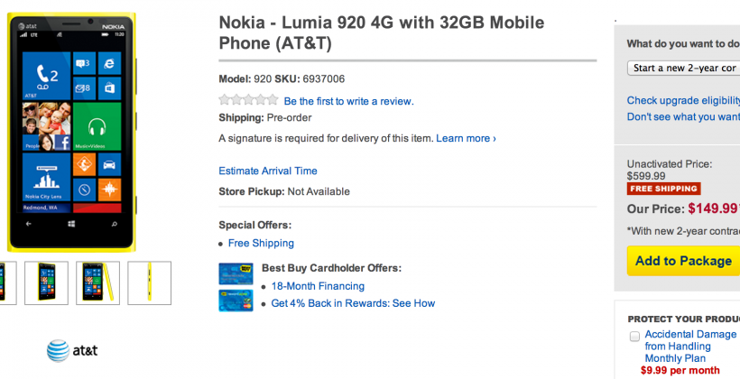 $150 AT&T Nokia Lumia 920 priced to undercut rivals (but not HTC)