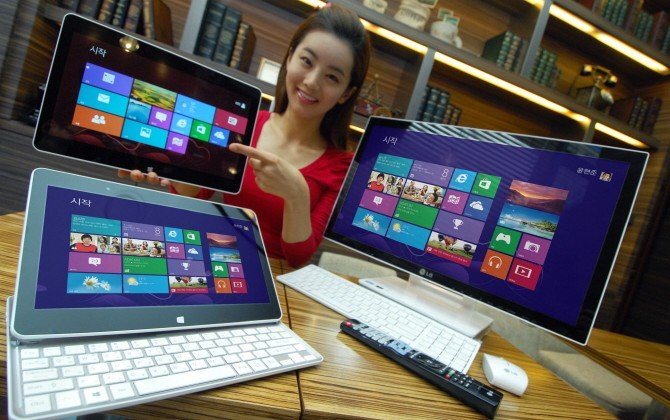 LG H160 sliding tablet and V325 all-in-one PC pack Windows 8