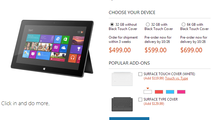 Microsoft sells out of $499 Surface RT pre-orders
