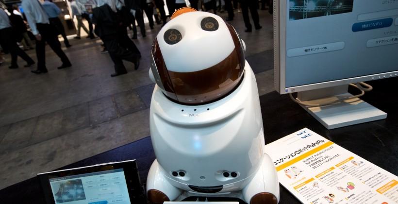 NEC shows off PaPeRo telecommunications robot