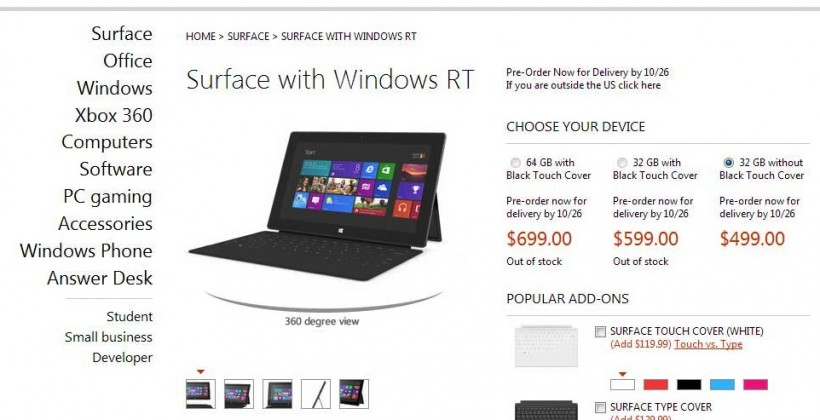 Microsoft Surface preorders open: $499 for 32GB, $599 inc Touch Cover