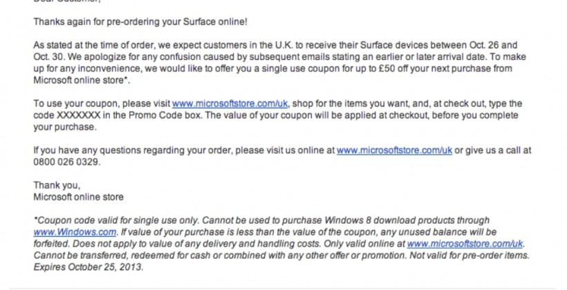 Microsoft Surface pre-orders delayed in UK, apologetic coupon sent instead