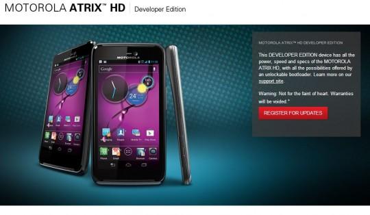 Motorola unveils Atrix HD Developer Edition