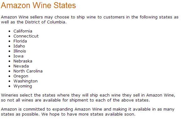 Amazon now ships wine to certain states