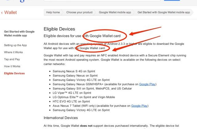 Google Wallet Card confirmed on Google support page