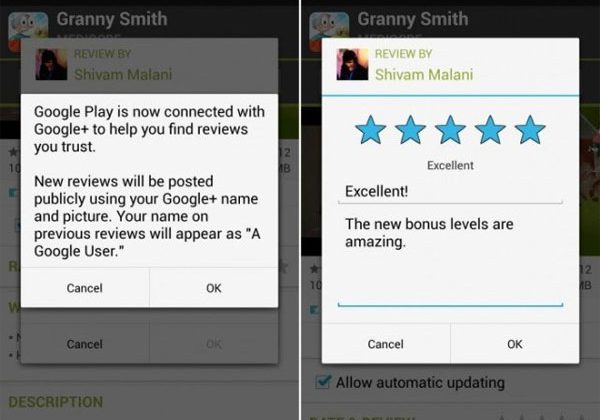 Google Play reviews now use Google+ name and photo