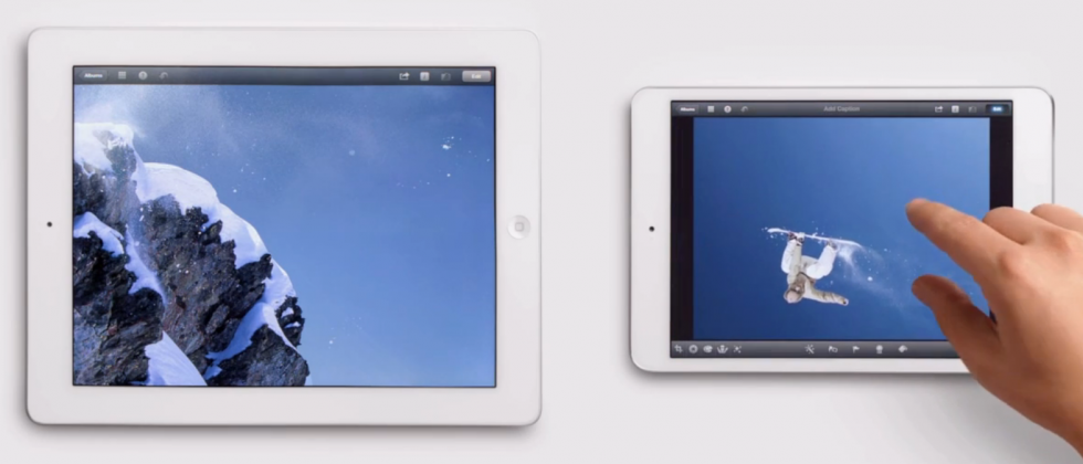 New iPad mini adverts pit big against small