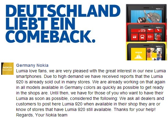 Nokia Lumia 920 sells out in Germany