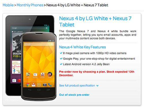 Nexus 4 shows up in white at TalkTalk