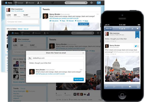 Twitter adds new email sharing option for tweets