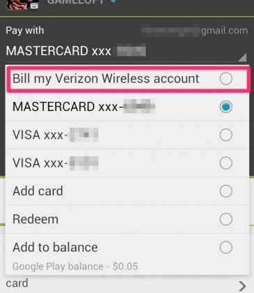 Google Play carrier billing comes to Verizon Wireless