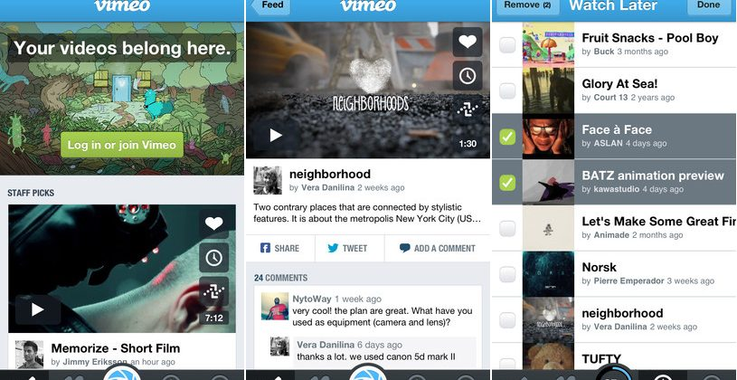Vimeo for iPhone updated with easier video creation