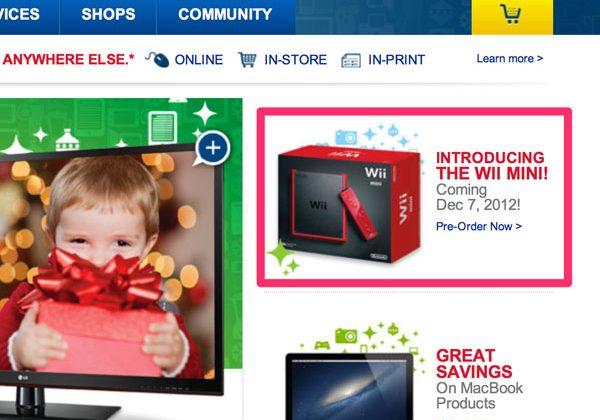 Best Buy Canada website leaks Nintendo Wii Mini