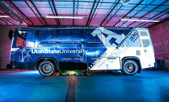 Utah State University unveils public transit bus with inductive charging